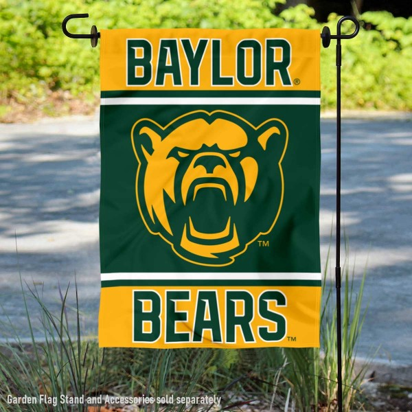 Baylor University Bears Garden Flag is 13x18 inches in size, is made of 2-layer polyester, screen printed logos and lettering. Available with Same Day Express Shipping, Our Baylor University Bears Garden Flag is officially licensed and approved by the NCAA.