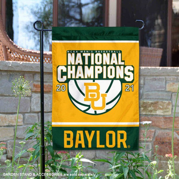 Baylor University College Basketball National Champions Double Sided Garden Flag is 13x18 inches in size, is made of 2-layer polyester, screen printed university athletic logos and lettering, and is readable and viewable correctly on both sides. Available same day shipping, our Baylor University College Basketball National Champions Double Sided Garden Flag is officially licensed and approved by the university and the NCAA.