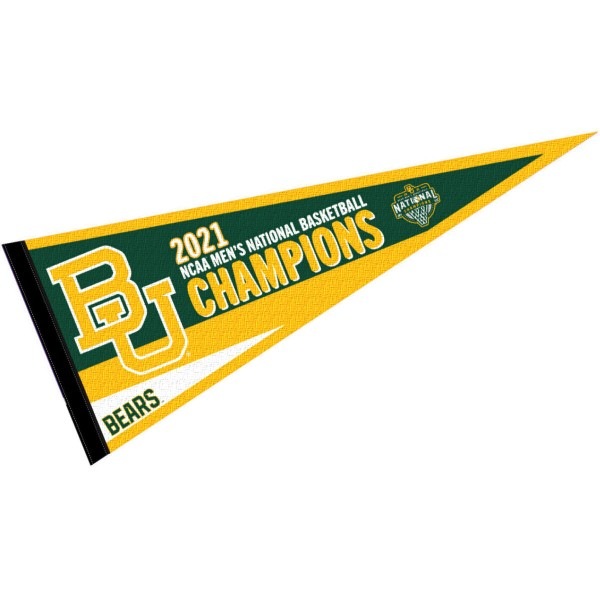 Baylor University College Basketball National Champions Pennant Flag consists of our full size sports pennant which measures 12x30 inches, is constructed of felt, is single sided imprinted, and offers a pennant sleeve for insertion of a pennant stick, if desired. This Baylor University Pennant Decorations is Officially Licensed by the selected university and the NCAA.
