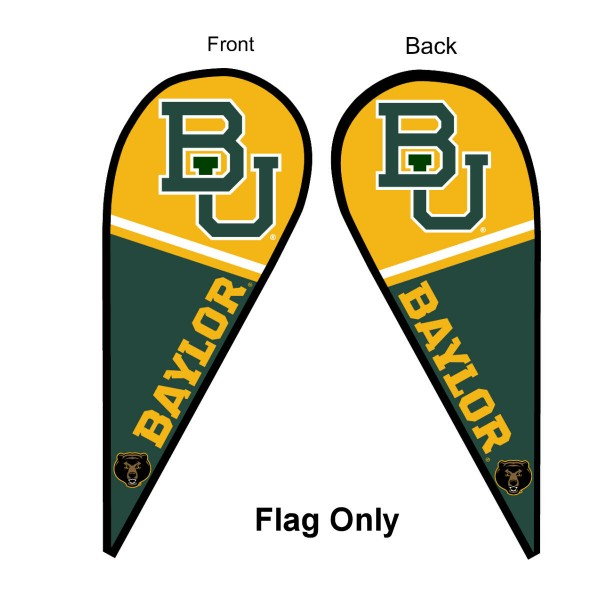 Baylor University Feather Flag is 9 feet by 3 feet and is a tall 10' when fully assembled. The feather flag is made of thick polyester and is readable and viewable on both sides. The screen printed Baylor Bears double sided logos are NCAA Officially Licensed and is Team and University approved.