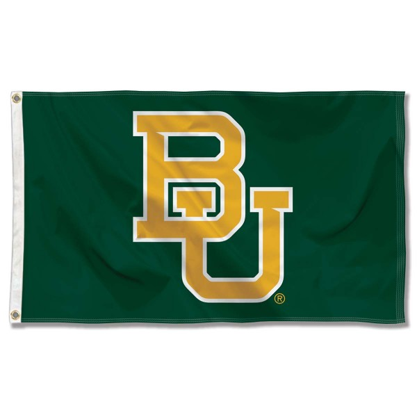 Baylor University Green Flag measures 3'x5', is made of 100% poly, has quadruple stitched sewing, two metal grommets, and has double sided Baylor University logos. Our Baylor University Green Flag is officially licensed by the selected university and the NCAA