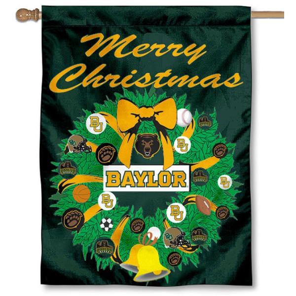 Baylor University Holiday Flag is a decorative house flag, 30x40 inches, made of 100% polyester, Holiday NCAA team insignias, and has a top pole sleeve to hang vertically. Our Baylor University Holiday Flag is officially licensed by the selected university and the NCAA.