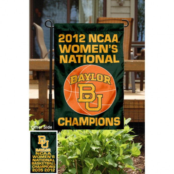 Baylor Womens National Championship Garden Flag measures 13x18 inches, made of 2-ply polyester, and has printed Championship logos and lettering. This Baylor Womens National Championship Garden Flag is officially licensed by the selected college and are great for your yard, entranceway, mailbox, or window.