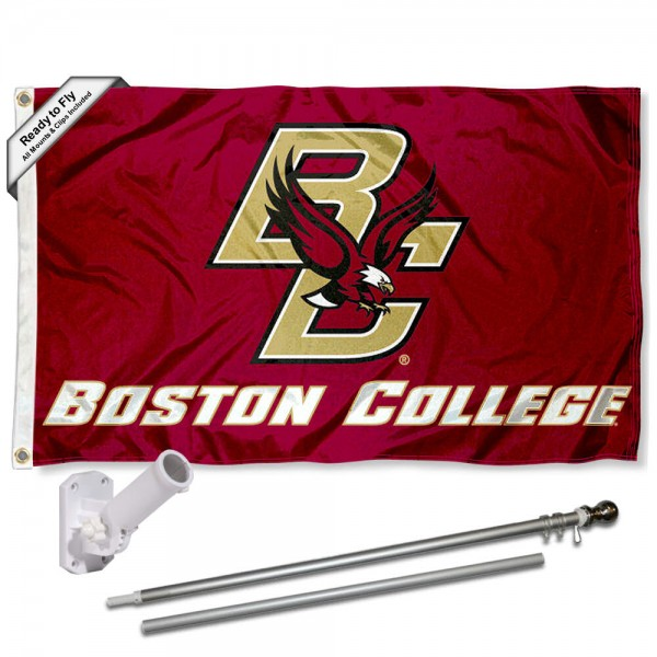 Our BC Eagles Flag Pole and Bracket Kit includes the flag as shown and the recommended flagpole and flag bracket. The flag is made of nylon, has quad-stitched flyends, and the NCAA Licensed team logos are double sided screen printed. The flagpole and bracket are made of rust proof aluminum and includes all hardware so this kit is ready to install and fly.