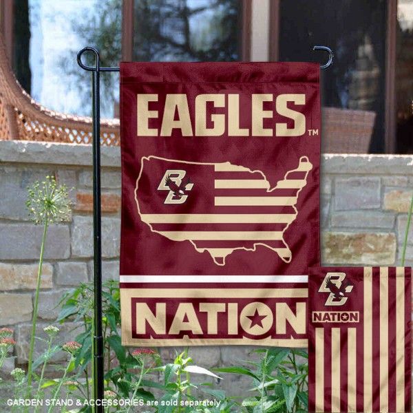 BC Eagles Garden Flag with USA Country Stars and Stripes is 13x18 inches in size, is made of 2-layer polyester, screen printed logos and lettering. Available with Same Day Express Shipping, Our Nation Yard Flag is officially licensed and approved by the NCAA.
