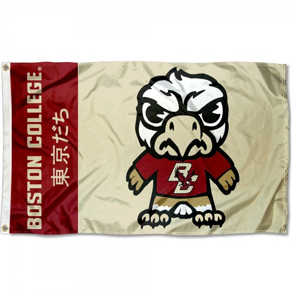 BC Eagles Kawaii Tokyo Dachi Yuru Kyara Flag measures 3x5 feet, is made of 100% polyester, offers quadruple stitched flyends, has two metal grommets, and offers screen printed NCAA team logos and insignias. Our BC Eagles Kawaii Tokyo Dachi Yuru Kyara Flag is officially licensed by the selected university and NCAA.
