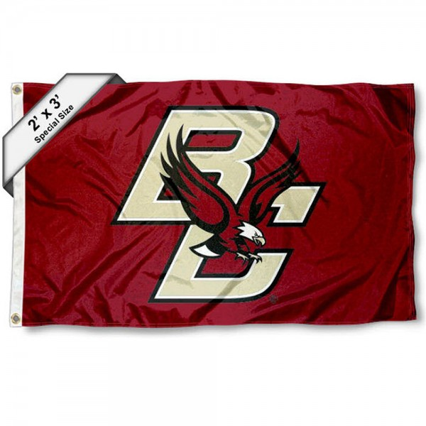 BC Eagles Small 2'x3' Flag measures 2x3 feet, is made of 100% polyester, offers quadruple stitched flyends, has two brass grommets, and offers printed BC Eagles logos, letters, and insignias. Our 2x3 foot flag is Officially Licensed by the selected university.