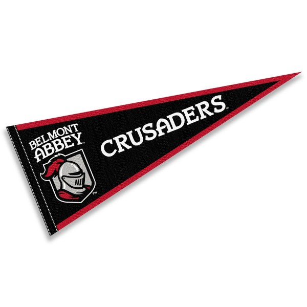 Belmont Abbey College Crusaders Pennant consists of our full size sports pennant which measures 12x30 inches, is constructed of felt, is single sided imprinted, and offers a pennant sleeve for insertion of a pennant stick, if desired. This Belmont Abbey College Crusaders Pennant Decorations is Officially Licensed by the selected university and the NCAA.