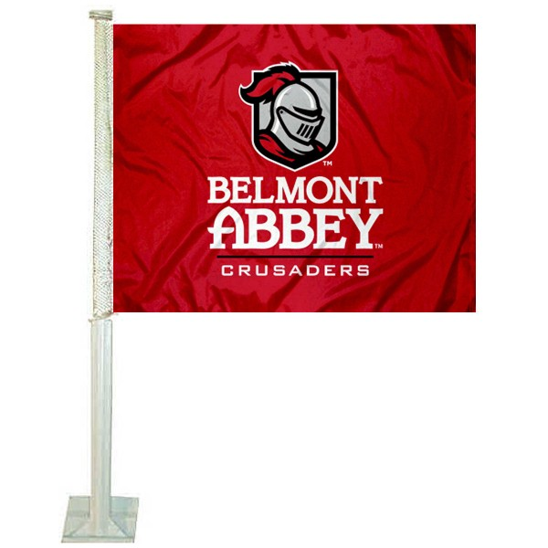 Belmont Abbey Crusaders Logo Car Flag measures 12x15 inches, is constructed of sturdy 2 ply polyester, and has screen printed school logos which are readable and viewable correctly on both sides. Belmont Abbey Crusaders Logo Car Flag is officially licensed by the NCAA and selected university.