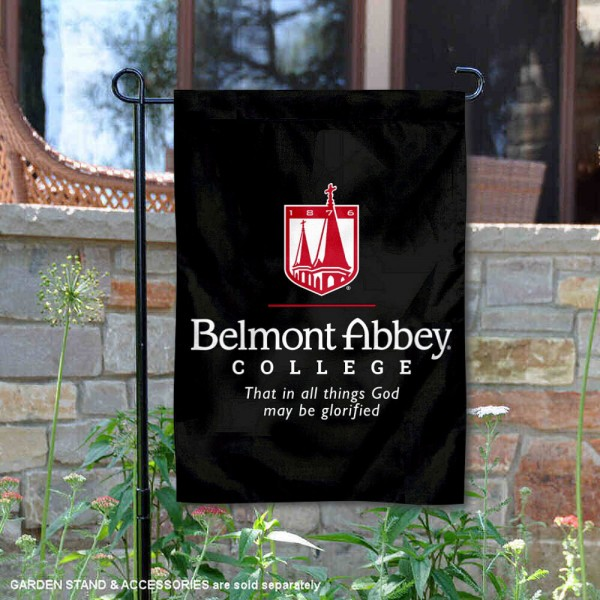 Belmont Abbey Wordmark Logo Garden Flag is 13x18 inches in size, is made of 2-layer polyester, screen printed university athletic logos and lettering, and is readable and viewable correctly on both sides. Available same day shipping, our Belmont Abbey Wordmark Logo Garden Flag is officially licensed and approved by the university and the NCAA.
