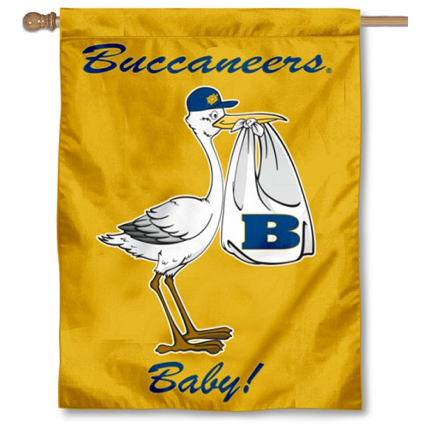 Beloit College Bucs New Baby Flag measures 30x40 inches, is made of poly, has a top hanging sleeve, and offers dye sublimated Beloit College Bucs logos. This Decorative Beloit College Bucs New Baby House Flag is officially licensed by the NCAA.