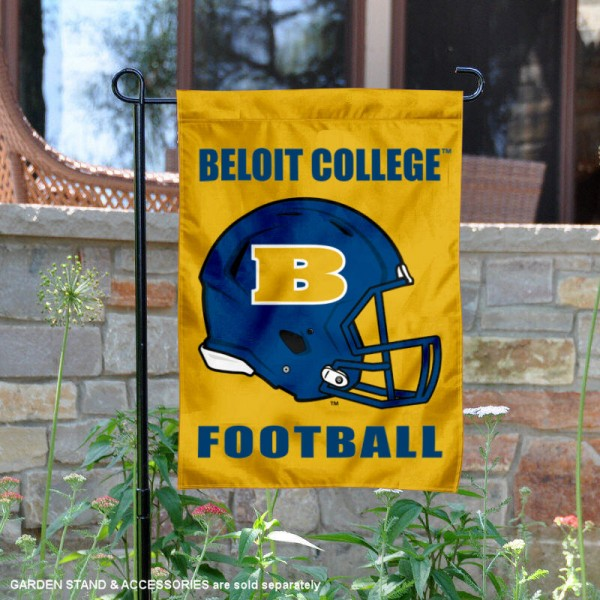 Beloit College Football Helmet Garden Banner is 13x18 inches in size, is made of 2-layer polyester, screen printed Beloit College athletic logos and lettering. Available with Same Day Express Shipping, Our Beloit College Football Helmet Garden Banner is officially licensed and approved by Beloit College and the NCAA.