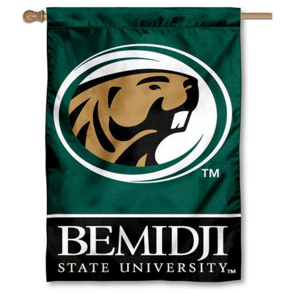 Bemidji State University Double Sided Banner is a vertical house flag which measures 28x40 inches, is made of 2 ply 100% nylon, offers screen printed NCAA team insignias, and has a top pole sleeve to hang vertically. Our Bemidji State University Double Sided Banner is officially licensed by the selected university and the NCAA.