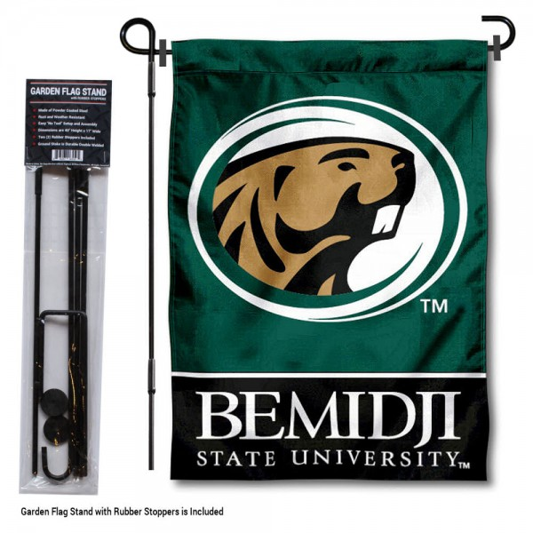 "Bemidji State University Garden Flag and Stand kit includes our 13""x18"" garden banner which is made of 2 ply poly with liner and has screen printed licensed logos. Also, a 40""x17"" inch garden flag stand is included so your Bemidji State University Garden Flag and Stand is ready to be displayed with no tools needed for setup. Fast Overnight Shipping is offered and the flag is Officially Licensed and Approved by the selected team."