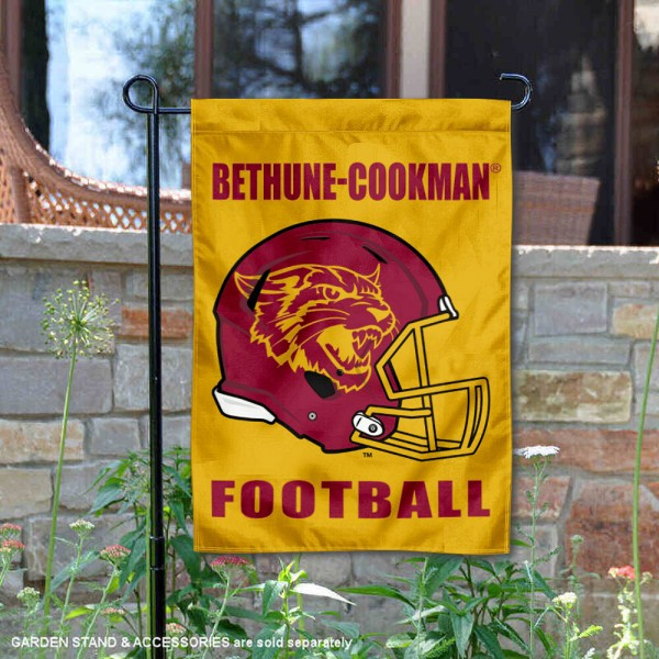 Bethune Cookman Wildcats Helmet Yard Garden Flag is 13x18 inches in size, is made of 2-layer polyester with Liner, screen printed university athletic logos and lettering, and is readable and viewable correctly on both sides. Available same day shipping, our Bethune Cookman Wildcats Helmet Yard Garden Flag is officially licensed and approved by the university and the NCAA.