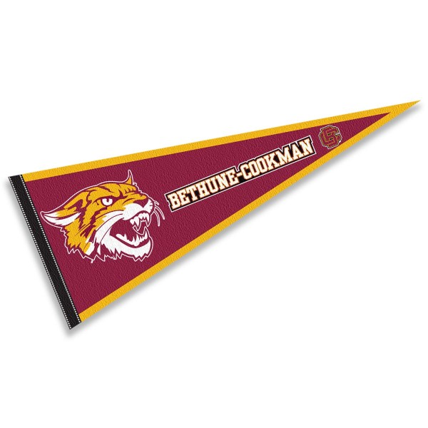 Bethune Cookman Wildcats Pennant consists of our full size sports pennant which measures 12x30 inches, is constructed of felt, is single sided imprinted, and offers a pennant sleeve for insertion of a pennant stick, if desired. This Bethune Cookman Wildcats Pennant Decorations is Officially Licensed by the selected university and the NCAA.