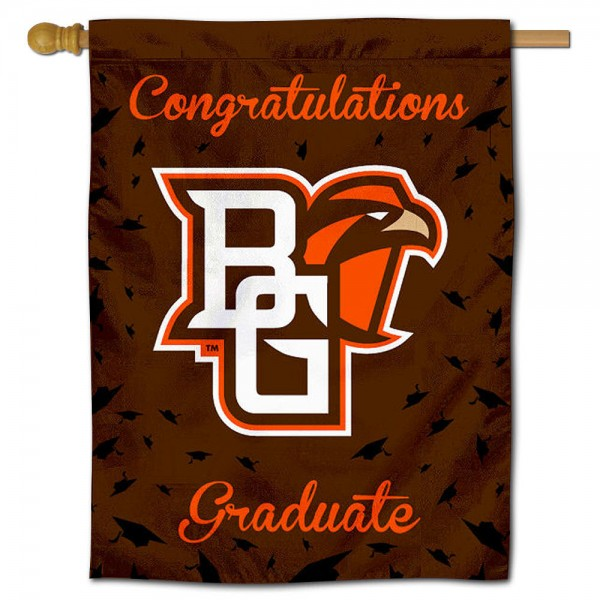 BGSU Falcons Congratulations Graduate Flag measures 30x40 inches, is made of poly, has a top hanging sleeve, and offers dye sublimated BGSU Falcons logos. This Decorative BGSU Falcons Congratulations Graduate House Flag is officially licensed by the NCAA.