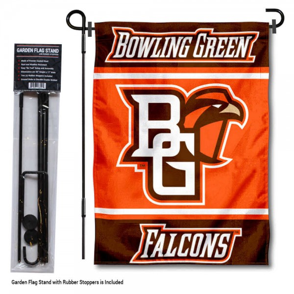 "BGSU Falcons Garden Flag and Pole Stand Holder kit includes our 13""x18"" garden banner which is made of 2 ply poly with liner and has screen printed licensed logos. Also, a 40""x17"" inch garden flag stand is included so your BGSU Falcons Garden Flag and Pole Stand Holder is ready to be displayed with no tools needed for setup. Fast Overnight Shipping is offered and the flag is Officially Licensed and Approved by the selected team."