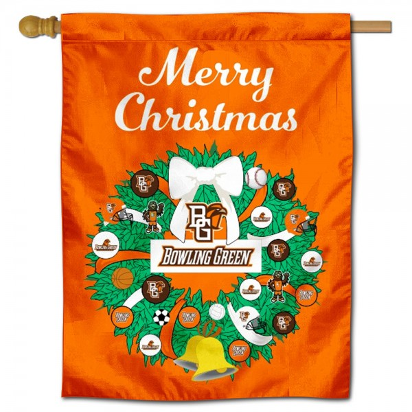BGSU Falcons Happy Holidays Banner Flag measures 30x40 inches, is made of poly, has a top hanging sleeve, and offers dye sublimated BGSU Falcons logos. This Decorative BGSU Falcons Happy Holidays Banner Flag is officially licensed by the NCAA.