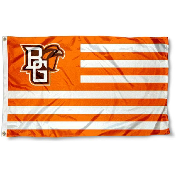 BGSU Falcons Stripes Flag measures 3'x5', is made of polyester, offers double stitched flyends for durability, has two metal grommets, and is viewable from both sides with a reverse image on the opposite side. Our BGSU Falcons Stripes Flag is officially licensed by the selected school university and the NCAA.