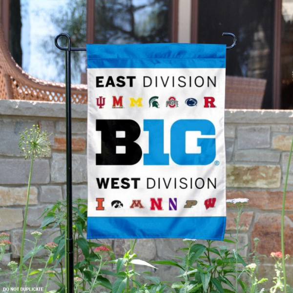 Big 10 Conference Garden and Window Flag is 13x18 inches in size, is made of 1-layer polyester, screen printed Big Ten Conference athletic logos and lettering. Available with Same Day Express Shipping, Our Big 10 Conference Garden and Window Flag is officially licensed and approved by Big Ten Conference and the NCAA.