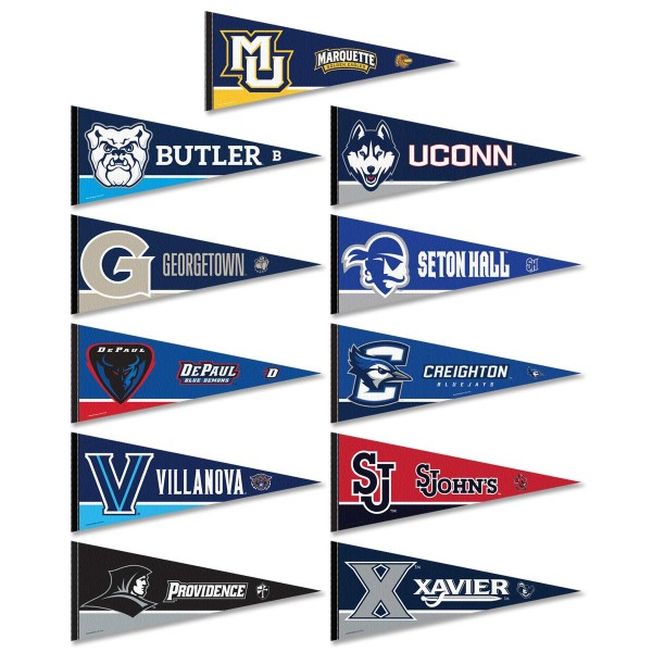 Big East Conference Pennants consist of all Big East Conference school pennants and measure 12x30 inches. All 10 Big East Conference teams are included and the Big East Conference Pennants is officially licensed by the NCAA and selected conference schools.