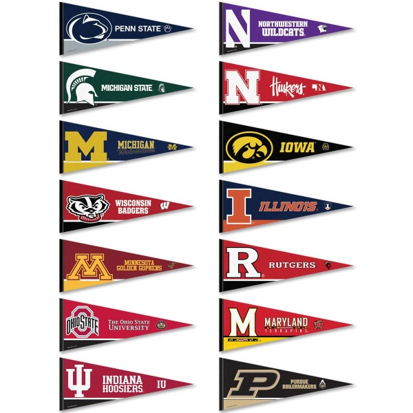 Big Ten Conference Pennants consists of all Big Ten Conference school pennants and measure 12x30 inches. All 12 Big 10 Conference teams are included and the Big Ten Conference Pennants is officially licensed by the NCAA and selected conference schools.