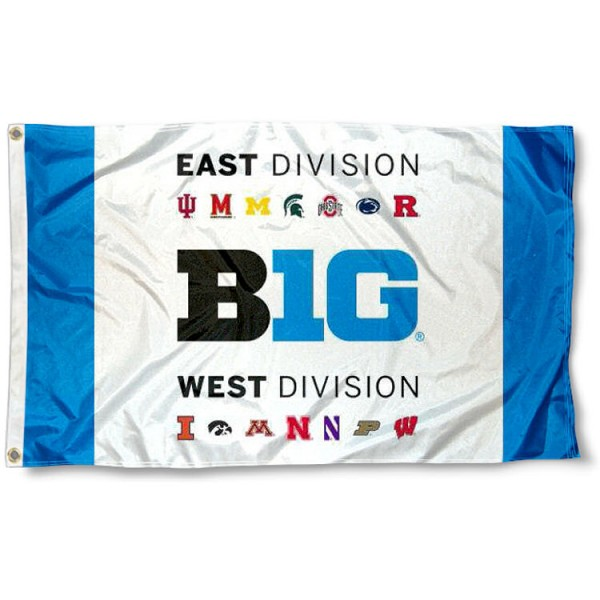 Big Ten East and West Division 3x5 Flag measures 3'x5', is made of 100% poly, has quadruple stitched sewing, two metal grommets, and has double sided Big Ten logos. Our Big Ten East and West Division 3x5 Flag is officially licensed by the Big 10 Conference and the NCAA.