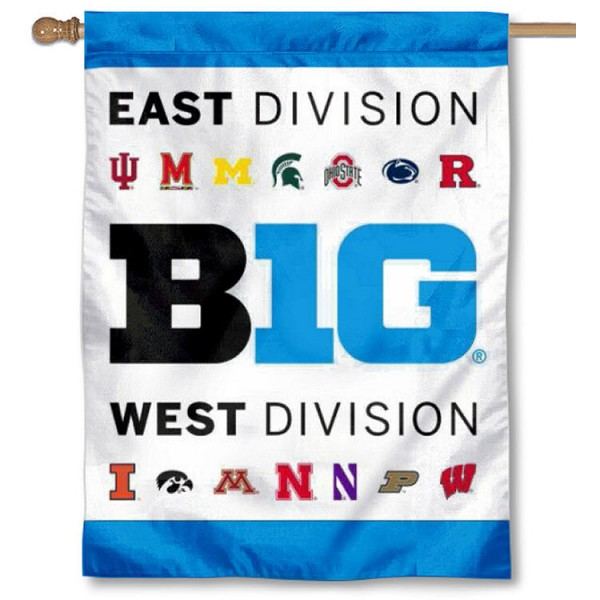 "Big Ten East and West House Flag is 30""x40"" in size, made of single-ply Polyester, has a Top Pole Sleeve, and Screen Printed Big Ten Team Logos. Our Big Ten East and West House Flag is Officially Licensed by the Big Ten Conference and NCAA."