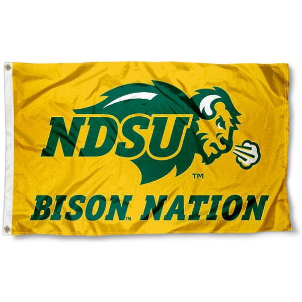 Bison Nation Gold 3x5 Flag measures 3'x5', is made of 100% poly, has quadruple stitched sewing, two metal grommets, and has double sided North Dakota State Bison logos. Our Bison Nation Gold 3x5 Flag is officially licensed by the selected university and the NCAA.