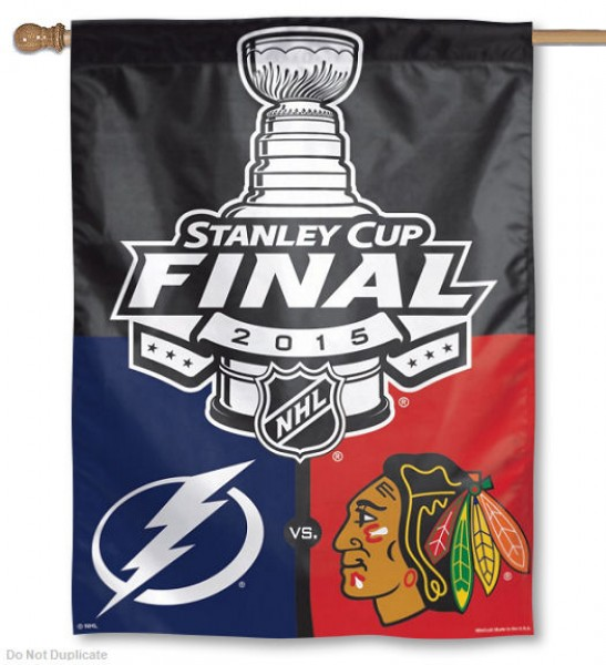 Blackhawks vs. Lightning Dueling 2015 House Flag is made of 100% polyester, measures 27x37 inches, hangs vertically, has a top pole sleeve, and is viewable from both sides with the opposite side being a reverse image. This Blackhawks vs. Lightning Dueling 2015 House Flag offers screen printed team logos and is NHL licensed Merchandise.