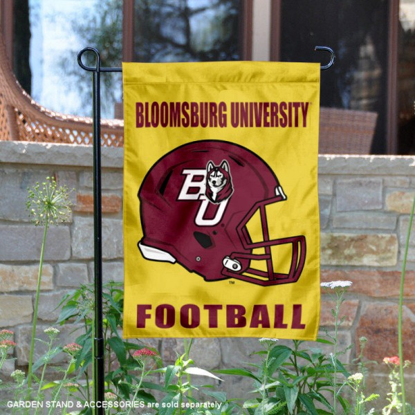 Bloomsburg University Football Helmet Garden Banner is 13x18 inches in size, is made of 2-layer polyester, screen printed Bloomsburg University athletic logos and lettering. Available with Same Day Express Shipping, Our Bloomsburg University Football Helmet Garden Banner is officially licensed and approved by Bloomsburg University and the NCAA.