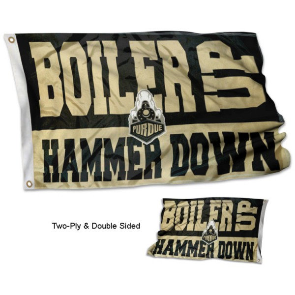 BOILER UP HAMMER DOWN Double Sided Flag measures 3x5, is made thick 100% polyester, has two stitched flyends for durability, and is readable correctly on both sides. Our BOILER UP HAMMER DOWN Double Sided Flag is officially licensed by the university, school, and the NCAA.