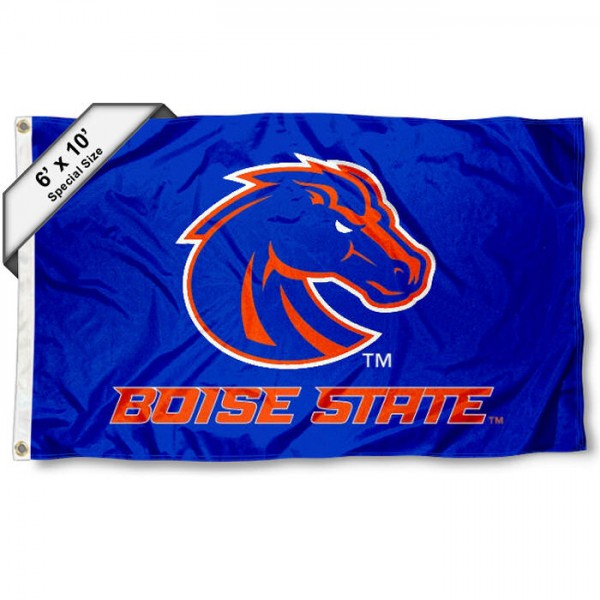 Boise State 6'x10' Flag measures 6x10 feet, is made of thick poly, has quadruple-stitched fly ends, and Boise State logos are screen printed into the Boise State 6'x10' Flag. This Boise State 6'x10' Flag is officially licensed by and the NCAA.
