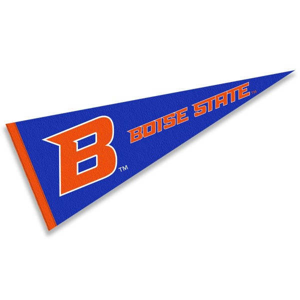 Boise State B Logo Pennant consists of our full size sports pennant which measures 12x30 inches, is constructed of felt, is single sided imprinted, and offers a pennant sleeve for insertion of a pennant stick, if desired. This Boise State Pennant Decorations is Officially Licensed by the selected university and the NCAA.