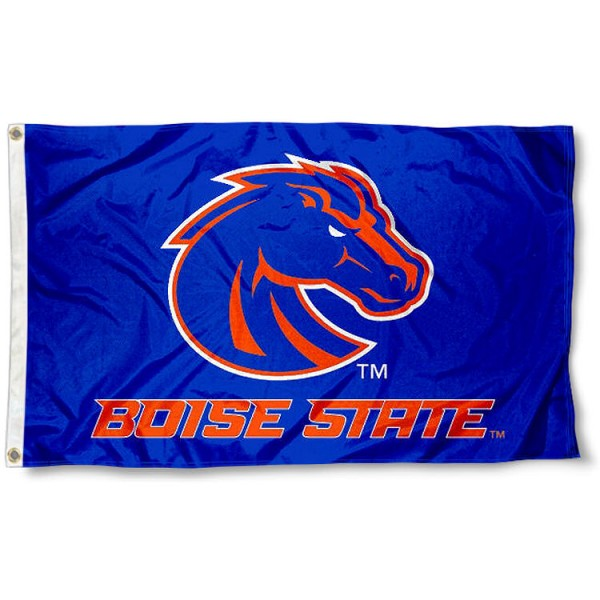Boise State Broncos Blue Flag measures 3x5 feet, is made of 100% polyester, offers quadruple stitched flyends, has two metal grommets, and offers screen printed NCAA team logos and insignias. Our Boise State Broncos Blue Flag is officially licensed by the selected university and NCAA.