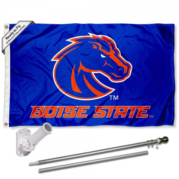 Our Boise State Broncos Blue Flag Pole and Bracket Kit includes the flag as shown and the recommended flagpole and flag bracket. The flag is made of polyester, has quad-stitched flyends, and the NCAA Licensed team logos are double sided screen printed. The flagpole and bracket are made of rust proof aluminum and includes all hardware so this kit is ready to install and fly.