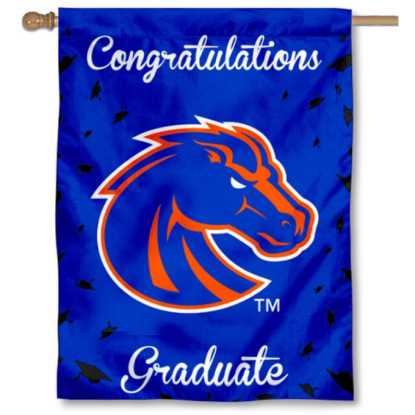 Boise State Broncos Congratulations Graduate Flag measures 30x40 inches, is made of poly, has a top hanging sleeve, and offers dye sublimated Boise State Broncos logos. This Decorative Boise State Broncos Congratulations Graduate House Flag is officially licensed by the NCAA.