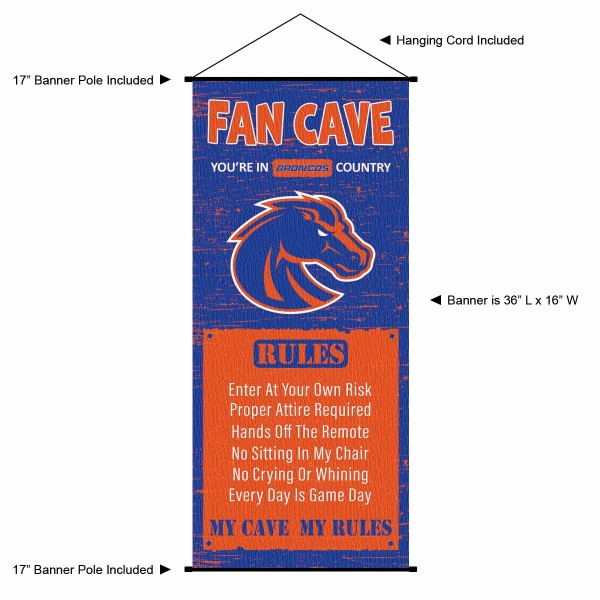 """This """"ready to hang"""" Boise State Broncos Fan Cave Man Cave Banner Scroll is made of polyester material, measures a large 17"""" x 36"""", offers screen printed athletic logos, and includes both top and bottom 3/4"""" diameter plastic banner poles and hanging cord. Our Boise State Broncos D�cor and Banner is Officially Licensed by the selected college and NCAA."""