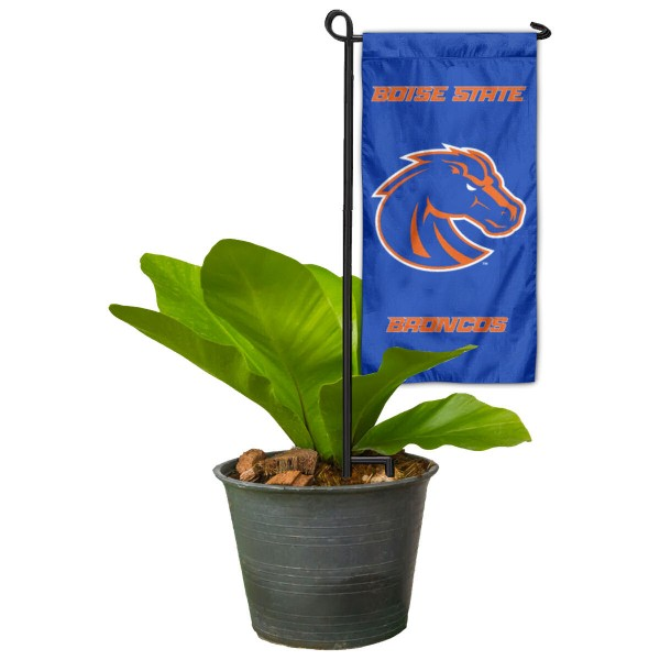 """Boise State Broncos Flower Pot Topper Flag kit includes our 4""""x8"""" mini garden banner and 6"""" x 14"""" mini garden banner stand. The mini flag is made of 1-ply polyester, has screen printed logos and the garden stand is made of steel and powder coated black. This kit is NCAA Officially Licensed by the selected college or university."""