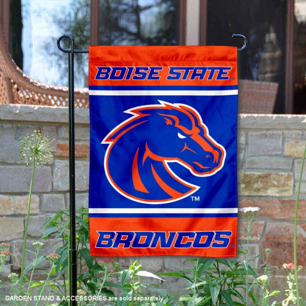 Boise State Broncos Garden Flag is 13x18 inches in size, is made of 2-layer polyester, screen printed logos and lettering. Available with Same Day Express Shipping, Our Boise State Broncos Garden Flag is officially licensed and approved by the NCAA.