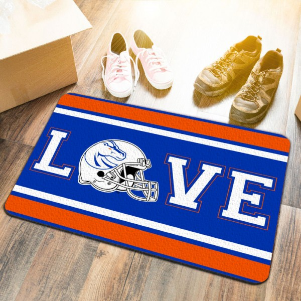 Boise State Broncos LOVE Garage Man Cave Utility Doormat measures 17x25 inches rectangular, is made of polyester felt blends, has a durable non-slip rubber backing, and is UV, mildew, and stain resistant. Each college doormat includes Officially Licensed Logos and Insignias.