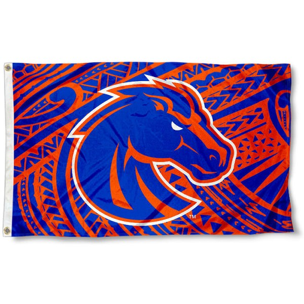 Boise State Broncos Samoan Flag measures 3x5 feet, is made of 100% polyester, offers quadruple stitched flyends, has two metal grommets, and offers screen printed NCAA team logos and insignias. Our Boise State Broncos Samoan Flag is officially licensed by the selected university and NCAA.