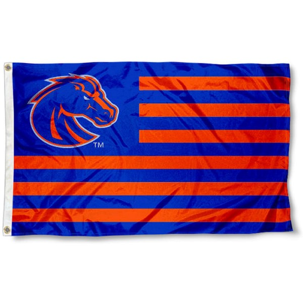 Boise State Broncos Stripes Flag measures 3'x5', is made of polyester, offers double stitched flyends for durability, has two metal grommets, and is viewable from both sides with a reverse image on the opposite side. Our Boise State Broncos Stripes Flag is officially licensed by the selected school university and the NCAA.