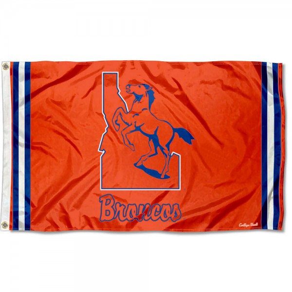 Boise State Broncos Throwback Vault Logo Flag measures 3x5 feet, is made of 100% polyester, offers quadruple stitched flyends, has two metal grommets, and offers screen printed NCAA team logos and insignias. Our Boise State Broncos Throwback Vault Logo Flag is officially licensed by the selected university and NCAA.