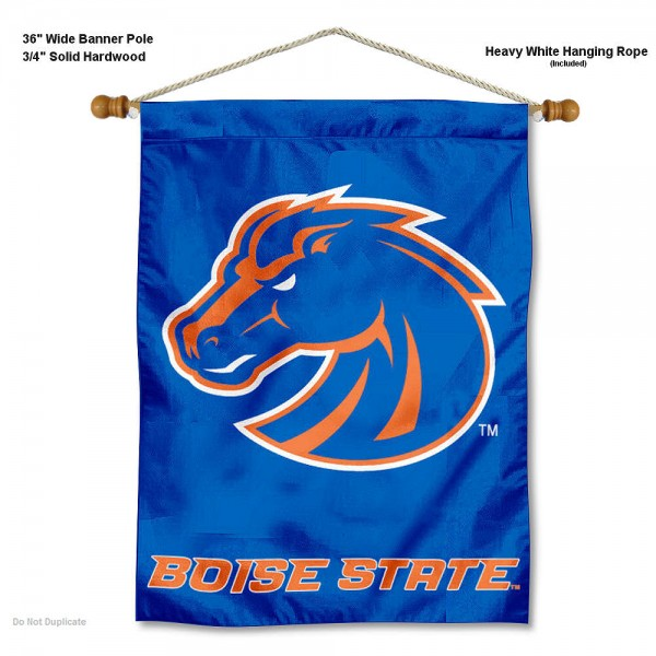 """Boise State Broncos Wall Banner is constructed of polyester material, measures a large 30""""x40"""", offers screen printed athletic logos, and includes a sturdy 3/4"""" diameter and 36"""" wide banner pole and hanging cord. Our Boise State Broncos Wall Banner is Officially Licensed by the selected college and NCAA."""