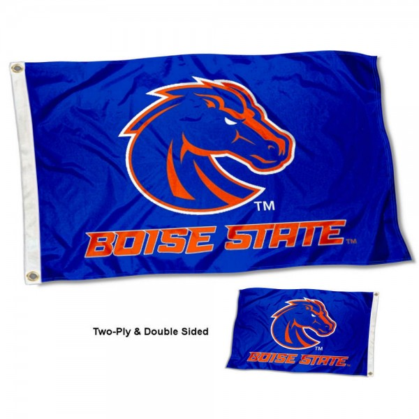 Boise State Broncos Wordmark Double Sided Flag measures 3'x5', is made of 2 layer 100% polyester, has quadruple stitched flyends for durability, and is readable correctly on both sides. Our Boise State Broncos Wordmark Double Sided Flag is officially licensed by the university, school, and the NCAA.