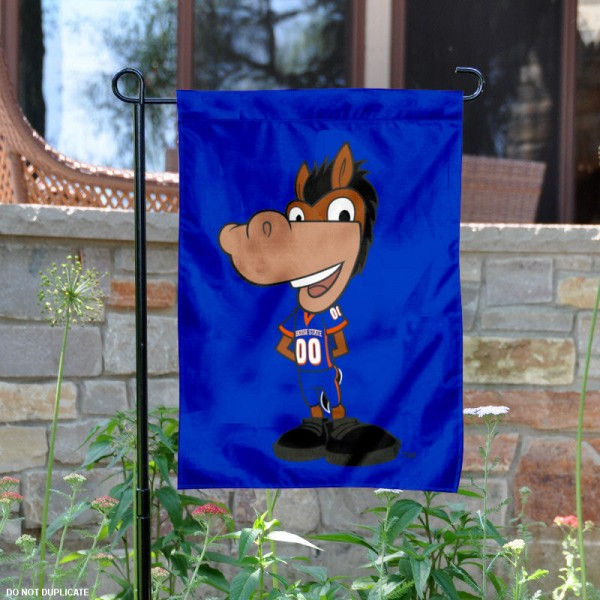 Boise State Buster Bronco Garden Flag is 13x18 inches in size, is made of 2-layer polyester, screen printed university athletic logos and lettering. Available with Same Day Express Shipping, our Boise State Buster Bronco Garden Flag is officially licensed and approved by the university and the NCAA.