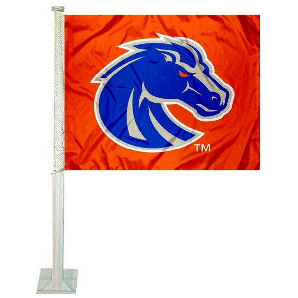 Boise State Car Window Flag measures 12x15 inches, is constructed of sturdy 2 ply polyester, and has screen printed school logos which are readable and viewable correctly on both sides. Boise State Car Window Flag is officially licensed by the NCAA and selected university.