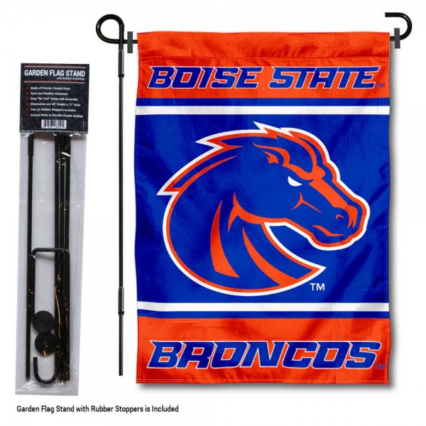 """Boise State Garden Flag and Pole Stand Holder kit includes our 13""""x18"""" garden banner which is made of 2 ply poly with liner and has screen printed licensed logos. Also, a 40""""x17"""" inch garden flag stand is included so your Boise State Garden Flag and Pole Stand Holder is ready to be displayed with no tools needed for setup. Fast Overnight Shipping is offered and the flag is Officially Licensed and Approved by the selected team."""